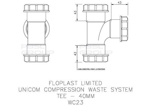 Multi Fit Compression Waste Tee - 40mm
