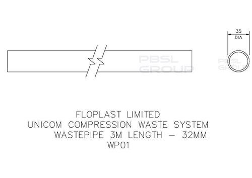 Push Fit Waste Pipe - 32mm x 3mtr White