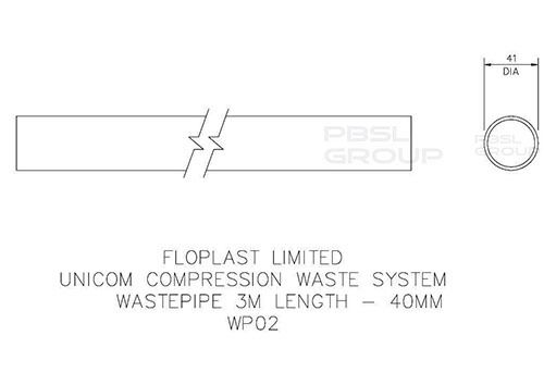 Push Fit Waste Pipe - 40mm x 3mtr White