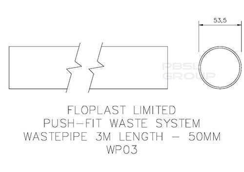 Push Fit Waste Pipe - 50mm x 3mtr Grey