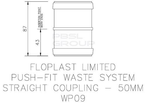 Push Fit Waste Coupling - 50mm Grey