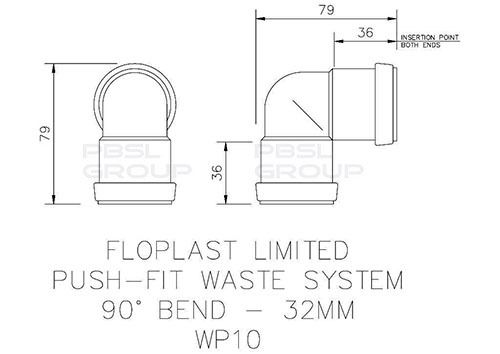 Push Fit Waste Bend Knuckle - 90 Degree x 32mm Grey