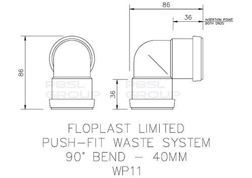 Push Fit Waste Bend Knuckle - 90 Degree x 40mm Black
