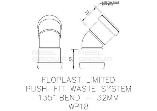 Push Fit Waste Bend - 135 Degree x 32mm Grey