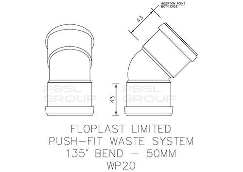 Push Fit Waste Bend - 135 Degree x 50mm Grey