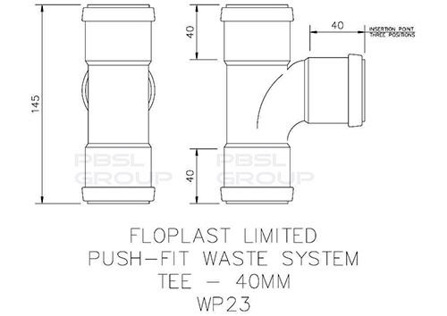Push Fit Waste Tee - 40mm Grey