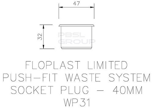 Push Fit Waste Socket Plug - 40mm Black