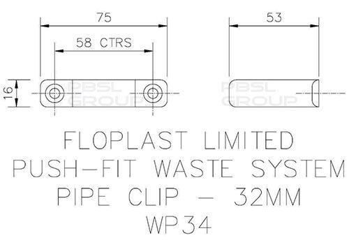 Push Fit Waste Pipe Clip - 32mm Grey