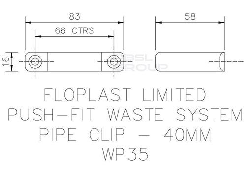 Push Fit Waste Pipe Clip - 40mm Grey