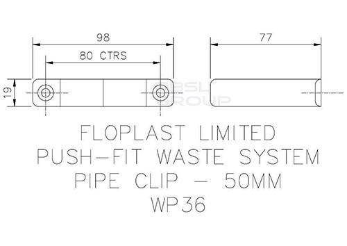 Push Fit Waste Pipe Clip - 50mm Grey