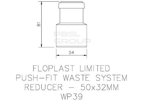 Push Fit Waste Reducer - 50mm x 32mm Grey