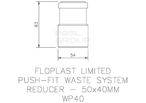 Push Fit Waste Reducer - 50mm x 40mm Grey