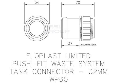 Push Fit Waste Tank Connector - 32mm Black