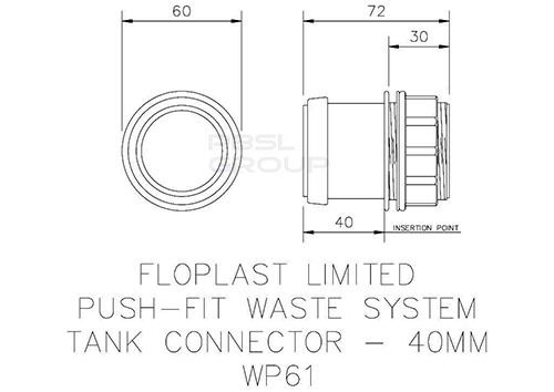 Push Fit Waste Tank Connector - 40mm Black