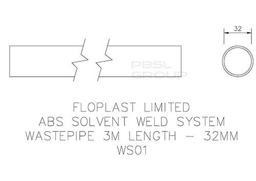 Solvent Weld Waste Pipe - 32mm (I.D.) x 3mtr Black