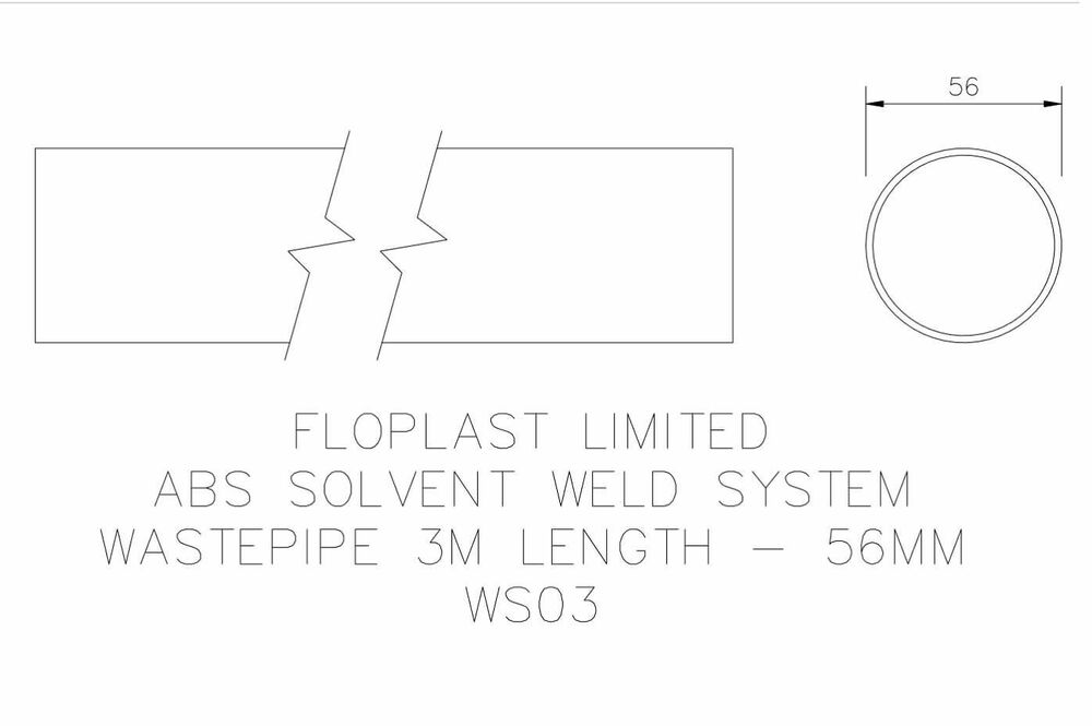 Solvent Weld Waste Pipe - 50mm (I.D.) x 3mtr Black