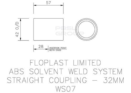 Solvent Weld Waste Coupling - 32mm White