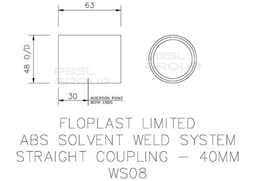 Solvent Weld Waste Coupling - 40mm White