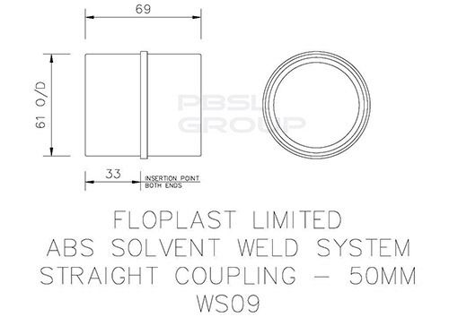 Solvent Weld Waste Coupling - 50mm Grey