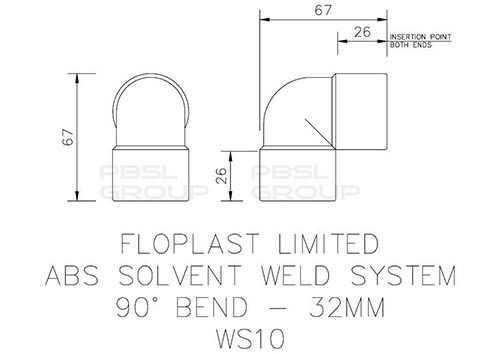Solvent Weld Waste Bend Knuckle - 90 Degree x 32mm White