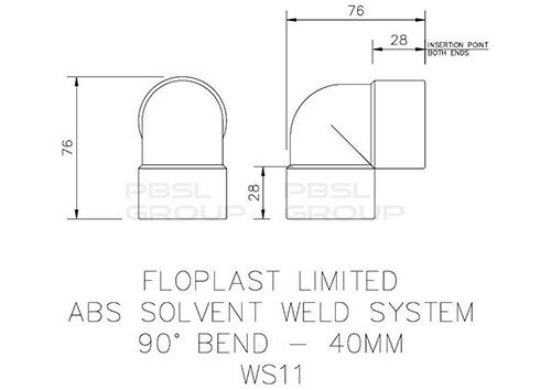 Solvent Weld Waste Bend Knuckle - 90 Degree x 40mm Grey