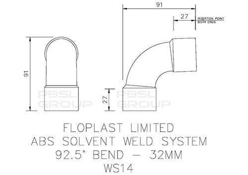 Solvent Weld Waste Bend Swept - 92.5 Degree x 32mm White