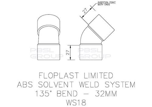Solvent Weld Waste Bend - 135 Degree x 32mm Grey