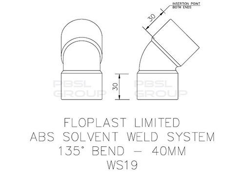 Solvent Weld Waste Bend - 135 Degree x 40mm Grey
