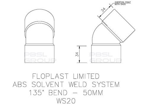 Solvent Weld Waste Bend - 135 Degree x 50mm Grey