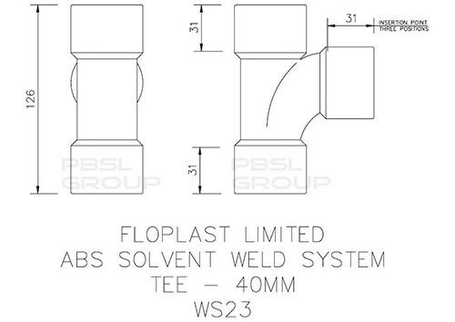 Solvent Weld Waste Tee - 40mm White