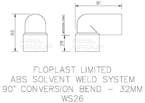 Solvent Weld Waste Bend Swivel Male and Female - 90 Degree x 32mm Black