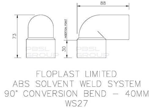 Solvent Weld Waste Bend Swivel Male and Female - 90 Degree x 40mm Black