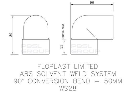 Solvent Weld Waste Swivel / Conversion Bend - 92.5 Degree x 50mm Grey
