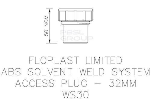 Solvent Weld Waste Access Plug - 32mm Grey