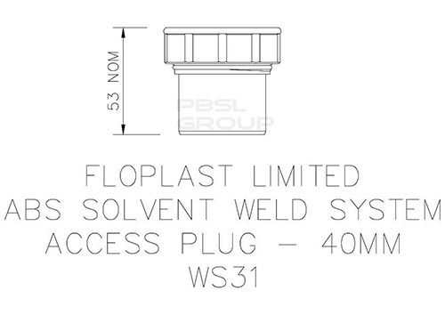 Solvent Weld Waste Access Plug - 40mm Grey