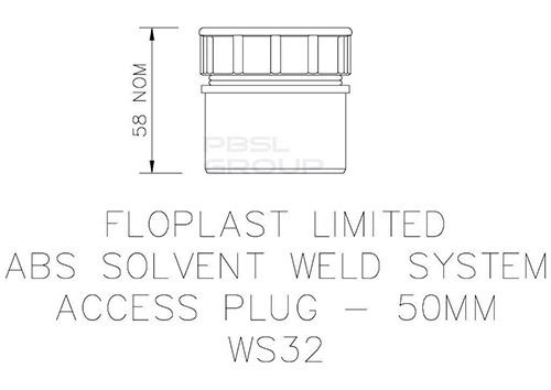 Solvent Weld Waste Access Plug - 50mm Grey