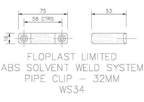 Solvent Weld Waste Pipe Clip - 32mm Black