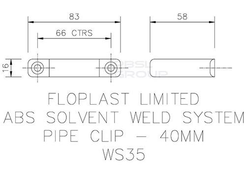 Solvent Weld Waste Pipe Clip - 40mm Grey
