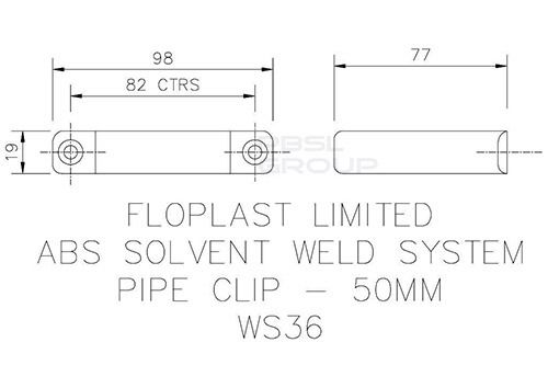 Solvent Weld Waste Pipe Clip - 50mm Grey