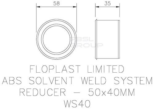 Solvent Weld Waste Reducer - 50mm x 40mm Grey