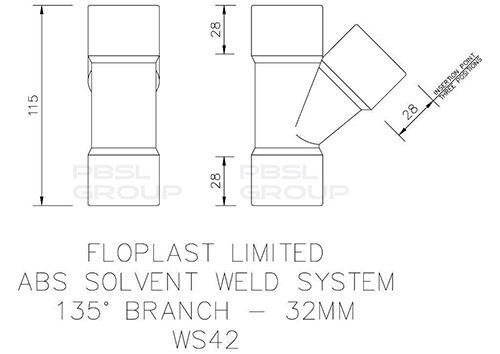 Solvent Weld Waste Branch - 135 Degree x 32mm White