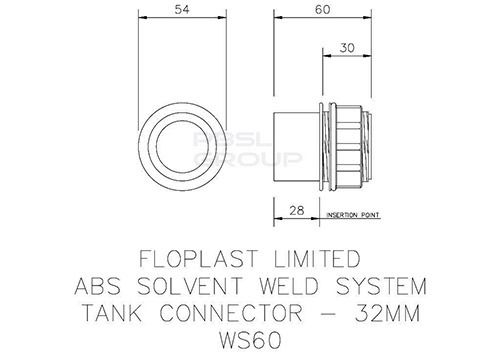Solvent Weld Waste Tank Connector - 32mm White