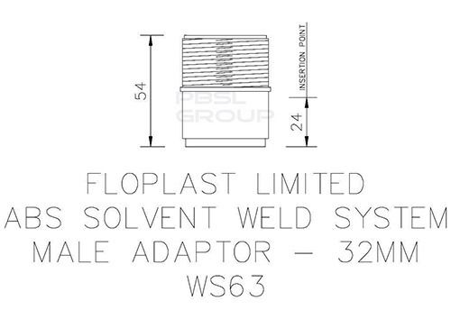 Solvent Weld Waste Iron Coupling Male - 32mm White