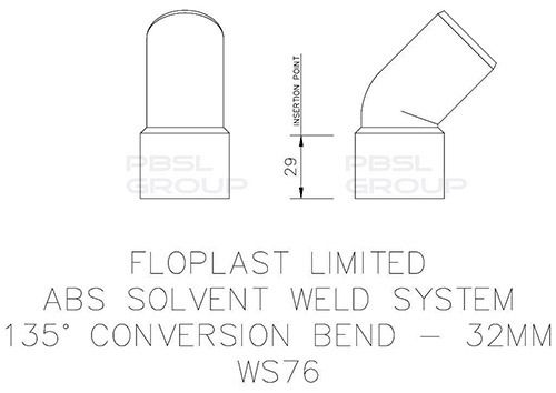 Solvent Weld Waste Bend Swivel - 135 Degree x 32mm White