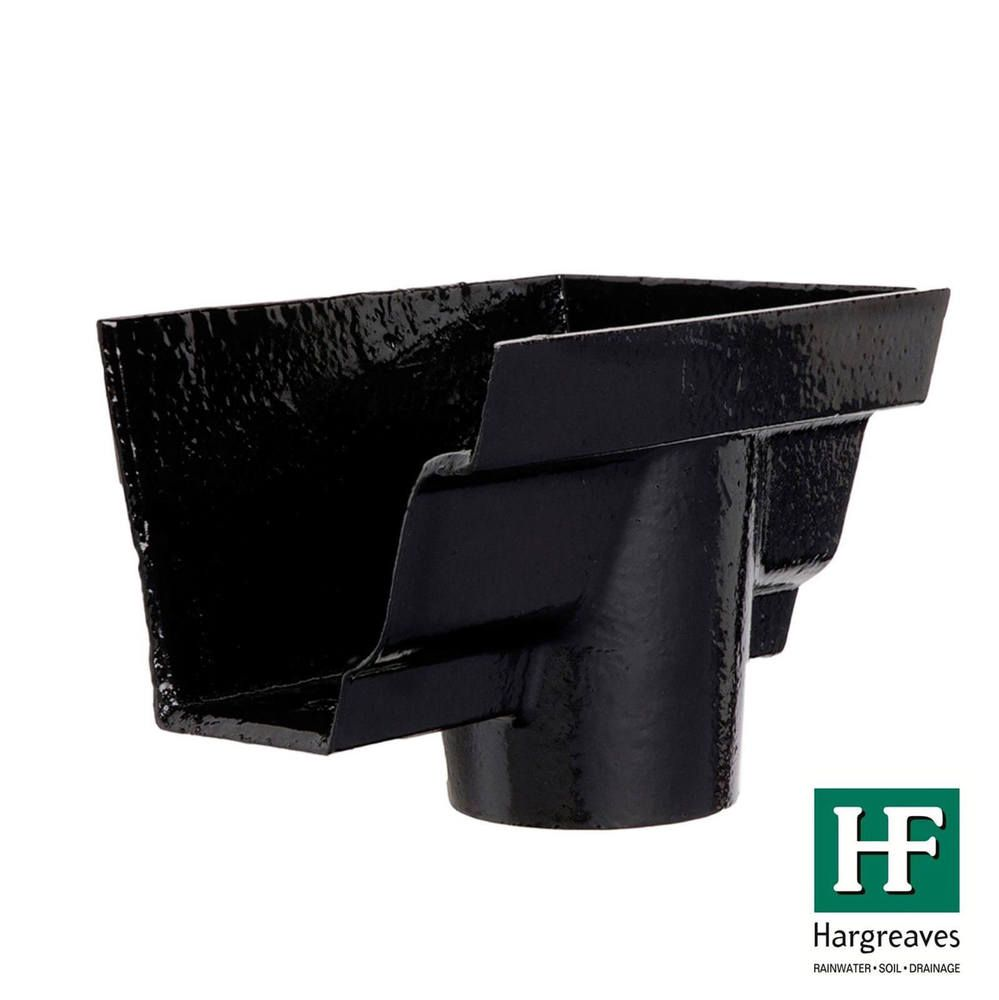 Cast Iron Moulded Ogee Gutter Right Hand Stopend Outlet - 100mm for 65mm Downpipe Black