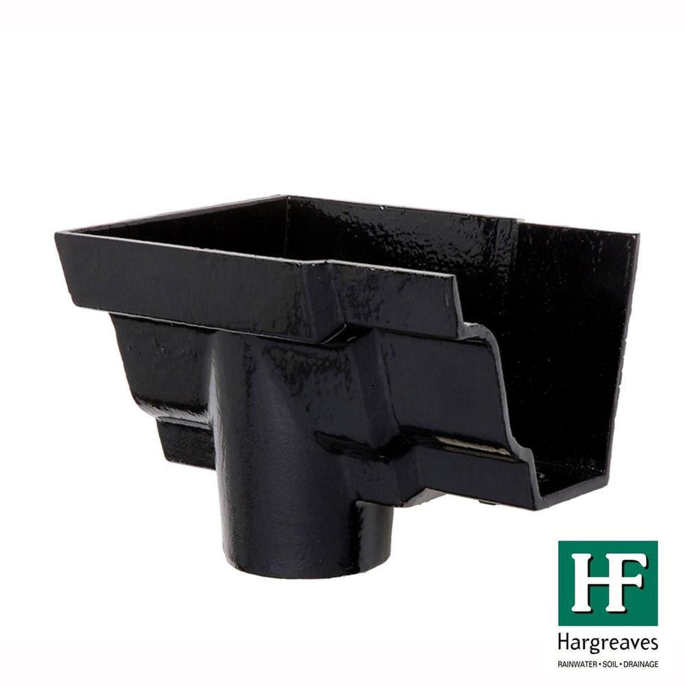 Cast Iron Moulded Ogee Gutter Left Hand Stopend Outlet - 125mm for 100mm Downpipe Black