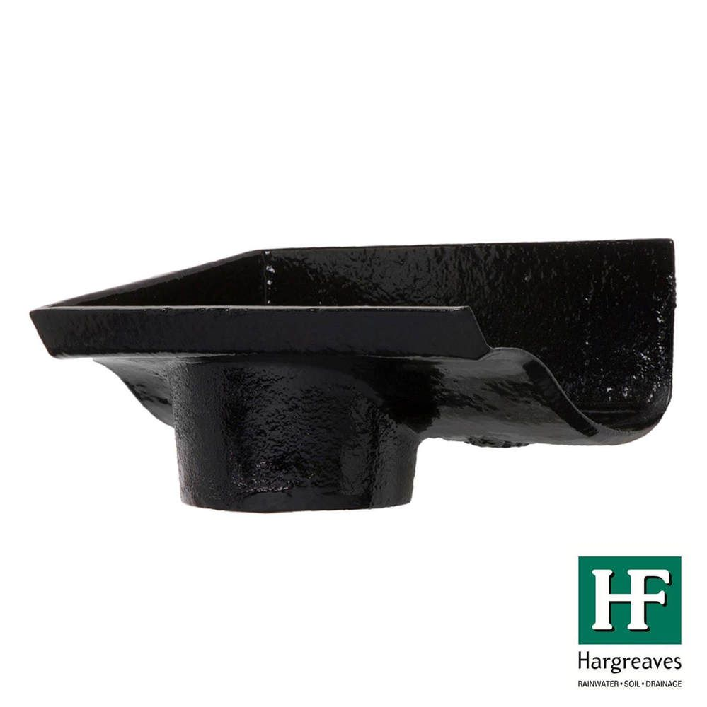 Cast Iron Ogee Gutter Left Hand Stopend Outlet - 100mm for 75mm Downpipe Black