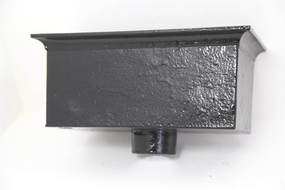 Cast Iron Rectangular Hopper Head Outlet - 305mm for 65mm Downpipe Black