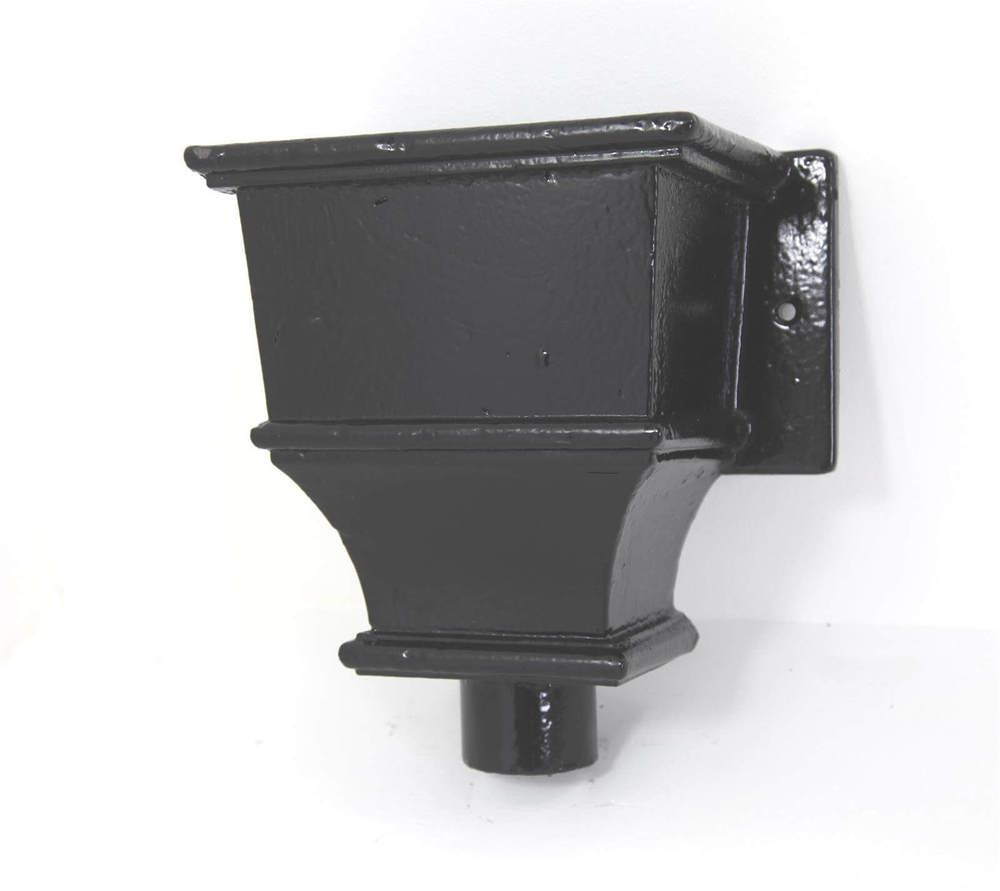 Cast Iron Round Downpipe Hopper Head Traditional Deep Flanged Outlet - 75mm Black