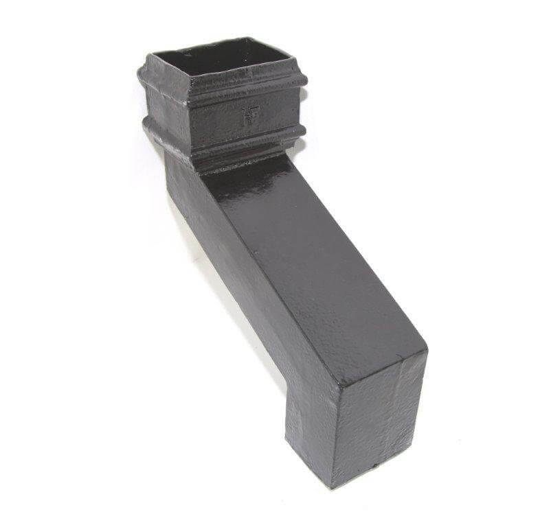 Cast Iron Rectangular Downpipe - 56mm Front Projection 100mm x 75mm Black